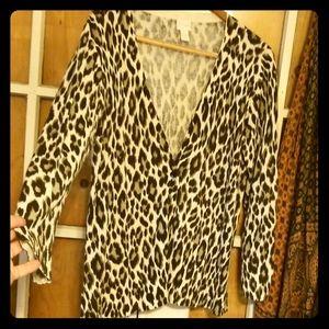 Chico's Leopard Print Cardigan
